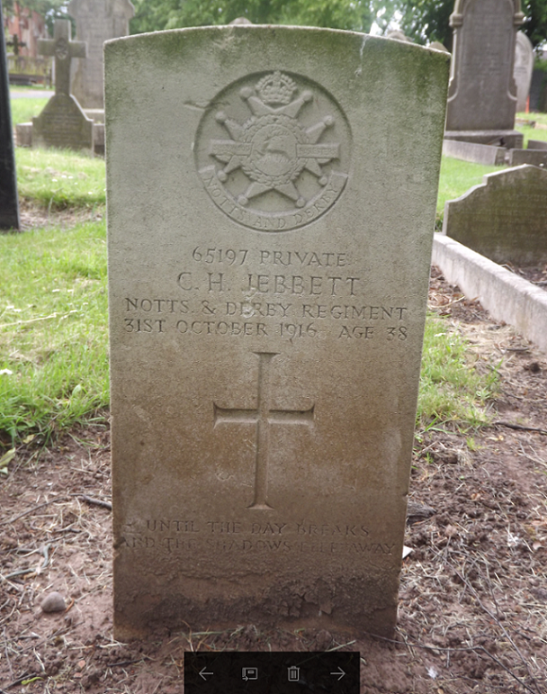 CWGC Grave for C H Jebbett