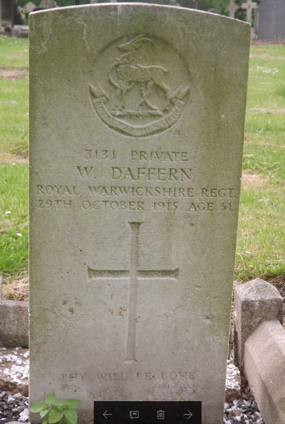 CWGC Grave for W Daffern