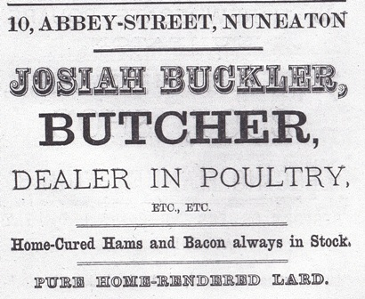 Advertisement from 1881 for Josiah Buckler, Butcher