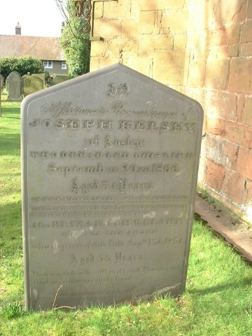 Astley St Mary the Virgin parish church gravestone of Joseph & Elizabeth KELSEY